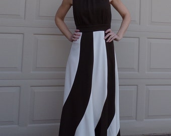 fab FRED ROTHSCHILD colorblocked MAXI dress 1960's 60's S (C9)