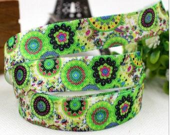 1 meter of Ribbon elastic green mosaic