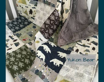 Yukon Bear Boy Quilt, Bear Baby Bedding, Adventure Crib Bedding, Mountain Baby Nursery, Adventure Nursery, Baby Blanket Boy, Yukon Bear
