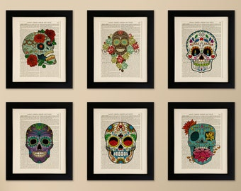Set of 6 FRAMED Art Prints on old antique book page - Sugar Skulls, Vintage Wall Art Print Encyclopaedia Dictionary Page