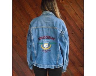 Oversized Denim 90s Embroidered Jacket - Vintage - L
