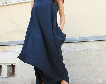 Long Maxi Dress / Linen Maxi Dress / Extravagant Long Dress/Linen Dress/Summer dress /Open Shoulders Dress/Summer Loose Dress/ Rohas/R00018