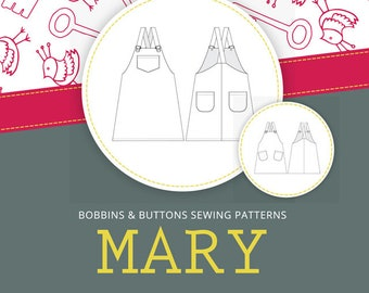 Dressmaking pattern - Mary - Dungaree dress - age 1 - 12 years - pdf download version.