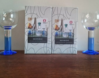 Set of 2 Vintage Finnish IITTALA MONDO Blue & Clear White Wine Glasses by Kerttu Nurminen 28cl 9oz