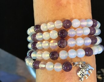 Purple and White Wraparound Bracelet with Elephant Charms
