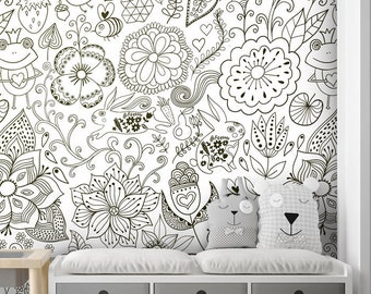 Floral Wallpaper, Garden Flowers Bugs Frog Wallpaper, Repositionable Removable Fabric, Kids Room Decor, Peel and Stick, Self Adhesive