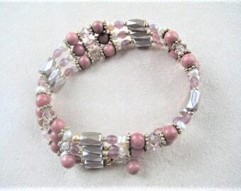 Boho bracelet, beaded magnetic wrap bracelet, rhodonite gemstone bracelet, pink bead bracelet, crystal bracelet, pearl bracelet, beaded cuff