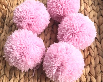 Pink Yarn Pom Poms, Extra Large, Set of 5