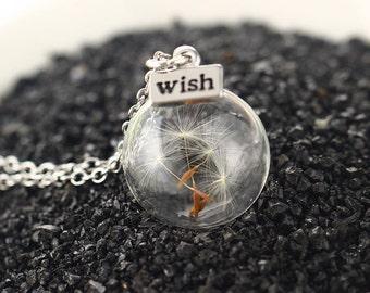 Dandelion necklace, Dandelion seed, Make a wish, wish necklace, Dandelion jewelry, Real Dandelion Seed, Glass Orb, Terrarium Pendant
