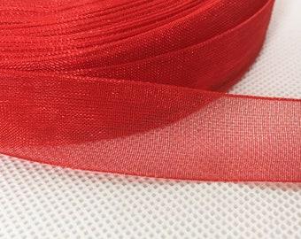 50 Metres Woven Edge Organza Red Ribbon Size 15 mm