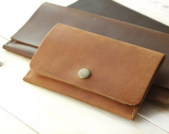 Woman Leather Wallet Credit Card Holder Minimalist Pocket Wallet Genuine Leather Slim Purse Wife Gift Orange Leather Wallet