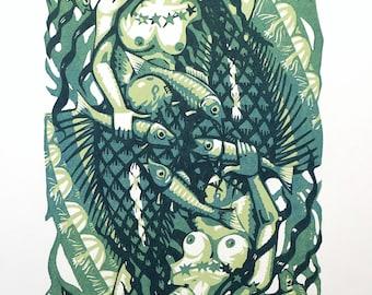 Mermaid lino print 10/15 (green)