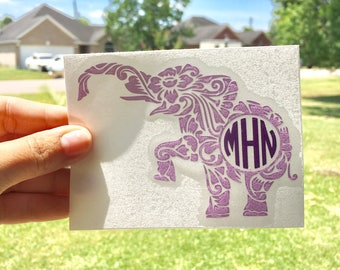 Elephant Monogram Decal-Elephant Decal | Monogram Decal | Elephant Decal | Monogrammed Elephant Decal | Elephant Decal | Car Decal
