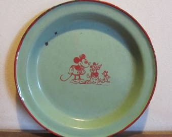 Antique Mickey Mouse 1930's enameled plate