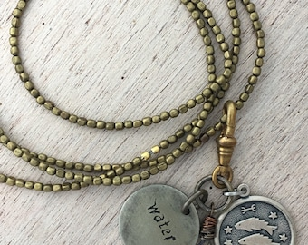 Astrological Pisces Necklace with Vintage Silver Charm on Brass Beads