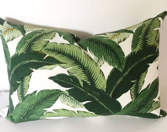 Emerald leaves indoor, outdoor cushion cover, tropical decor