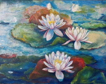 Oil Painting water lily pond plants Original Painting Palette Knife  Lotus Calm handmade homeoffice decor ideascheap canvas art Oil Painting