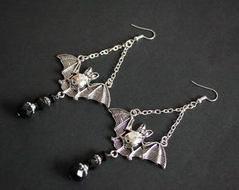 Black Crystal flying bat earrings