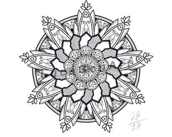 Mandala handmade Drawing, Instant Download, Decoration, , Made in pencil and ink, Mandala Art, Sacred GeometryDigital Print