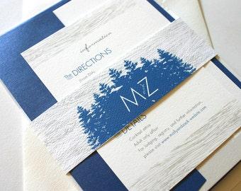 Pines and Woodgrain Wedding Invitations on 100% Cotton
