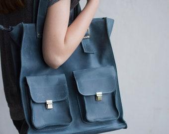 Leather tote, leather purses, MacBook bag 13, monogram purse, bag women, bag minimalist women, shoulder bag totes, large tote bag,light blue