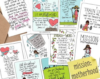 PRINTABLE Hand-drawn Mission: Motherhood Bible Verse Scripture Card Set of 8 + Printable Mom Encouragement Card and Scripture Set Cover