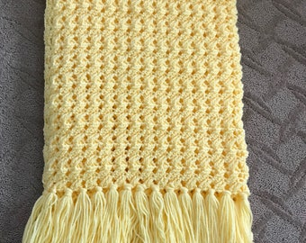 Yellow handmade crochet couch throw