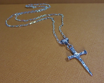 Mens Sterling Silver Cross Necklace, Religious Medal, Nail Cross Necklace, Unisex Sterling Silver Chain Necklace, Spiritual