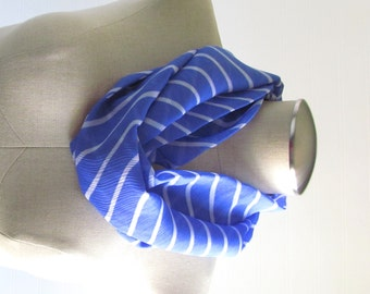 Striped Infinity Scarf - Blue Circle Scarf - Blue Scarf - SALE