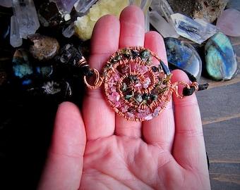 Watermelon Tourmaline Double Spiral Choker // Wire Wrapped // Crystal Choker // Handamade Jewelry // Festival Fashion // Wild Moon Child