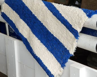 Blue rug, white rug, Bathroom rug,  area rug, Nautical rug, Washable cotton rug, Upcycled