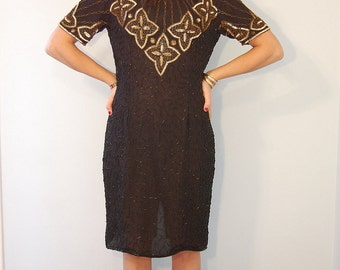 Vintage Beaded Silk Dress Gold Metallic Beaded Cocktail Dress