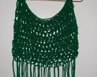Crochet Open Mesh Crop Top with Fringe, cropped halter top, tank top, music festival, clubwear, hippie festival top, bikini top cover up