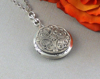 Silver Locket Dark Silver Locket Photo Locket Weddings Brides Maids Sister Mother Daughter Anniversary Gift Locket