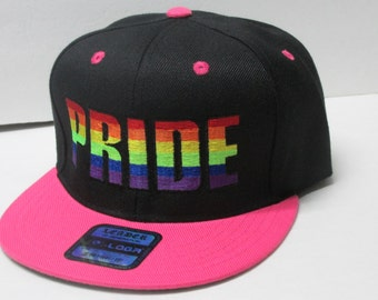 LGBT PRIDE Embroidered Black/Pink flat bill Snap-Back
