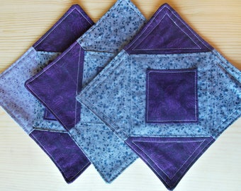 Mug Rugs, Mug Mat, Purple Mug Rug, Snack Mat, Mini Quilt, Fabric Coaster,