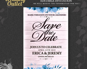 Floral save-the-date invite, Save the Date Card, Wedding Save the Date, Printable Save the Date Card, Save the Date Template, Editable