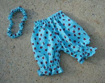 Baby Girl's Summer Seersucker Bloomer Shorts with Matching Ladybug Headband - Katie 652