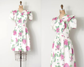 vintage 1940s dress | 40s floral print cotton dress | pink and white house dress (small s)