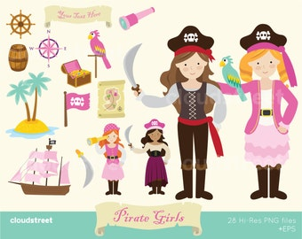 BUY 2 GET 1 FREE Cute Pirate Girls clipart for personal and commercial use ( pretty girl pirates clip art ) vector illustration