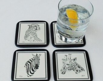 Drinks Coasters ,Set of 4 with a PRINT of  Animal Heads , hand tied with a black ribbon