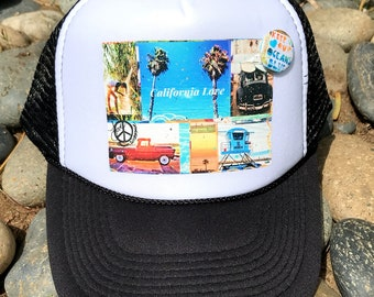Trucker Hats, CALIFORNIA LOVE, limited ed. with custom made Pin Back button, One Size Fits All, foam trucker hat, Beach, Surf, Ocean, truck