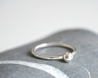 Sterling silver ring - stackable ring with 4mm ball - MADE TO ORDER