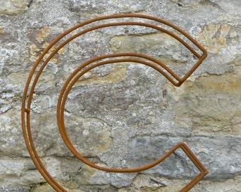 "Large letter C / Metal / Letter / Free-Standing / Industrial / Vintage / Rustic / Floral / Gift / Wedding / Home / 45cm / 17.5"""