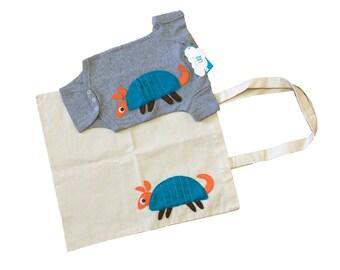 Armadillo Gift Set - Grey Baby Bodysuit & Tote Bag - We Love Texas!
