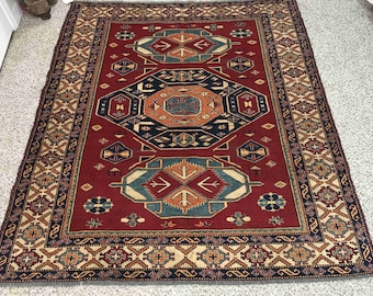 Vintage Turkmani Tribal Rug   100% Handmade Floor Carpets Sale   For Home, Living Room & Offices (6.3 x 5.7) Feet [Free Shipping]
