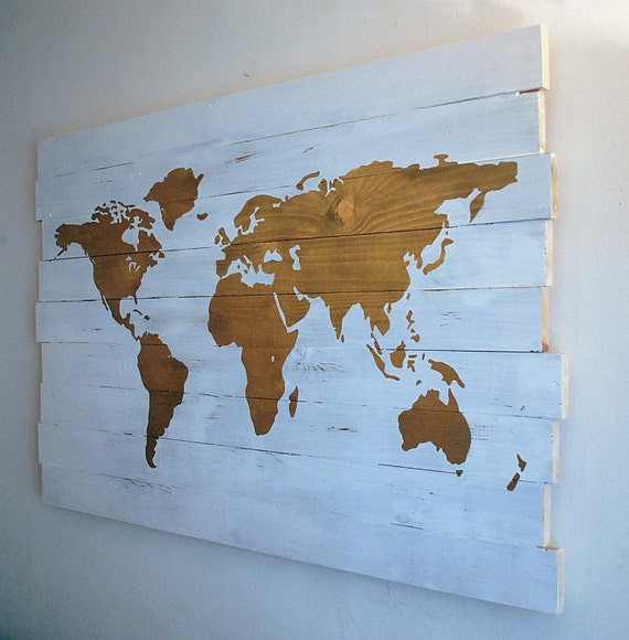 Gold and white world map extra large hand painted wall art on like this item gumiabroncs Gallery