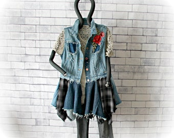 Frayed Jean Vest Bohemian Tunic Worn Aged Upcycled Clothing Flower Patch Tattered Duster Boho Gypsy Fashion Hippie Clothes M L 'HILDIE'