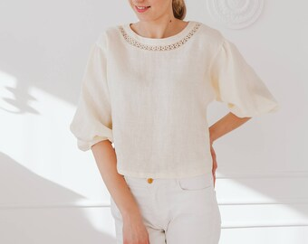 Linen Blouse/ Boho Style/ Handmade Linen Top/ Peasant Top With Sleeves/ Loose Fit/ Oversized Shirt/ Gift For Mothers Day/ Simple Top/ Flax