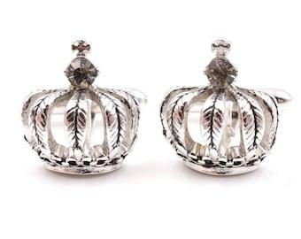Rhinestone crown cufflinks,  silver cufflinks, mid-century cuff links, wedding cufflinks,  royal cufflinks, king cufflinks, queen cuff links